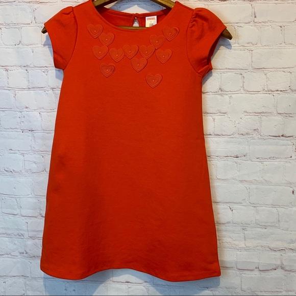 New Gymboree reddish-orange dress with hearts 7
